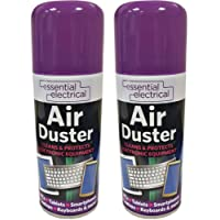 NEW 2 X 200ML COMPRESSED AIR CAN DUSTER SPRAY CAN CLEANER CLEAN & PROTECTS LAPTOP KEYBOARD ELECTRONICS 200 ML PACK SET OF 2