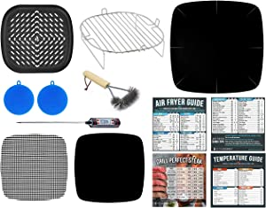Air Fryer Rack Accessories Compatible with Paula Deen 10.5 QT, Power Airfryer Oven XL, Philips XXL, Secura, U Drive, Zokop 5.6 Quart, GoWise USA, Chefman Family Size 5.5 +More | With Cooking Guide