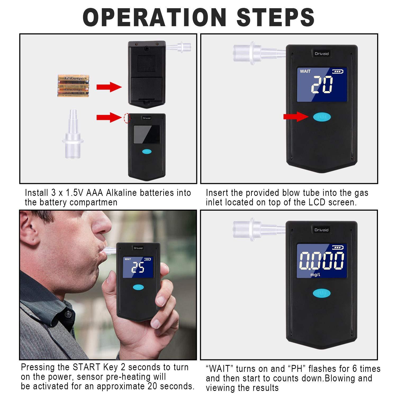 Drivaid Alcoholimetro Digital Homologado, Profesional Portátil de Alcohol con Pantalla LCD,Semi-Conductor de la Tecnología de Sensor,24 Boquillas