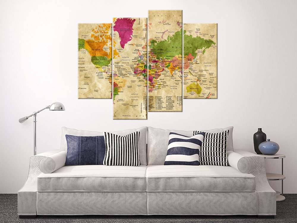 YYL ART-Multi Classical Light Yellow World Travel Map Of The World With Countries Plate Learning Large 48X35 World Map Canvas Wall Art Map Of The ...