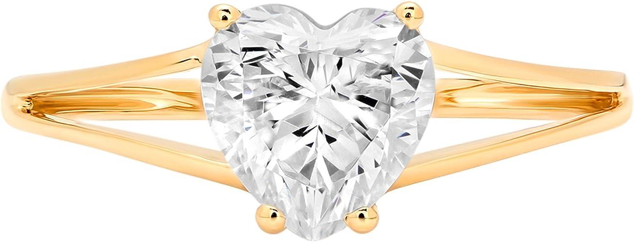 1.70 CT Heart Cut D//VVS1 Solitaire Engagement Wedding Ring 14k White Gold