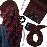 Moresoo Clip in Hair Extensions 16 Inch Hair Extensions Clip in Human Hair 7PCS...