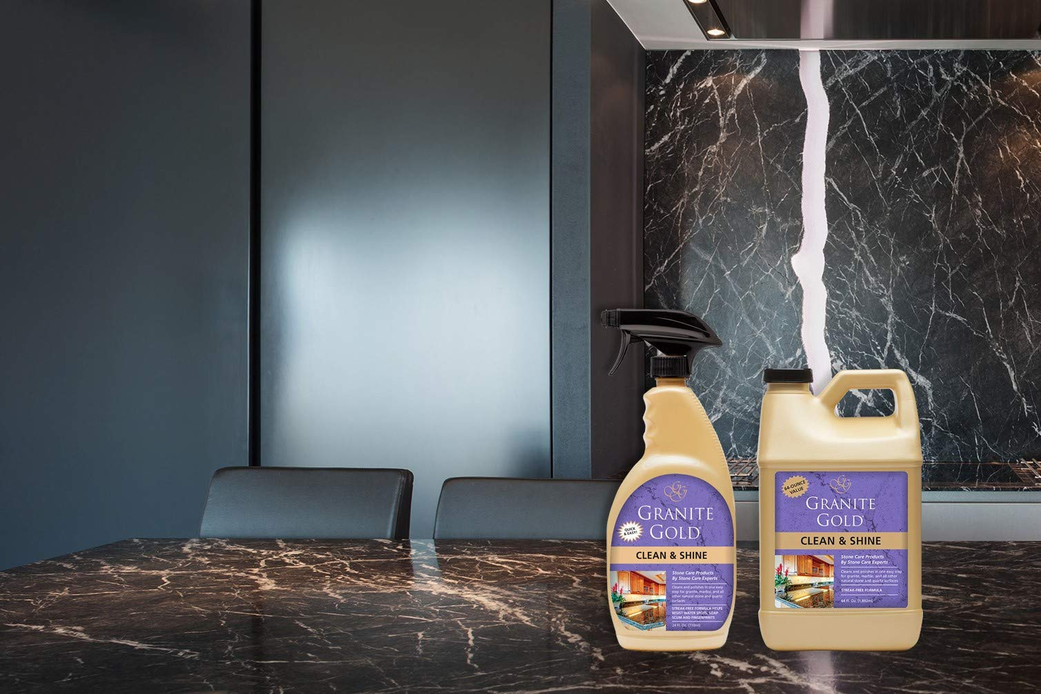 Granite Gold Clean and Shine Spray and Refill Value Pack - Polishes and Deep Cleans Natural Stone Surfaces, Made in The USA by Granite Gold (Image #2)