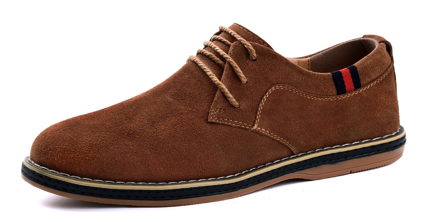 VanciLin Men's Casual Suede Leather Dress Working Shoes Fashion Lace-up Oxford Shoes(Van2008L.Brown41)