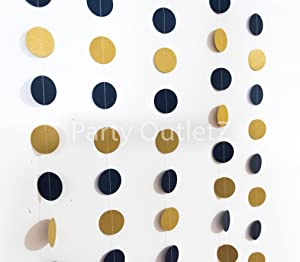 5 Piece Circular Dot Garlands (Each 6.5 feet): Birthday/Baby Shower/Bridal Shower Party Decorations - Navy Blue and Gold