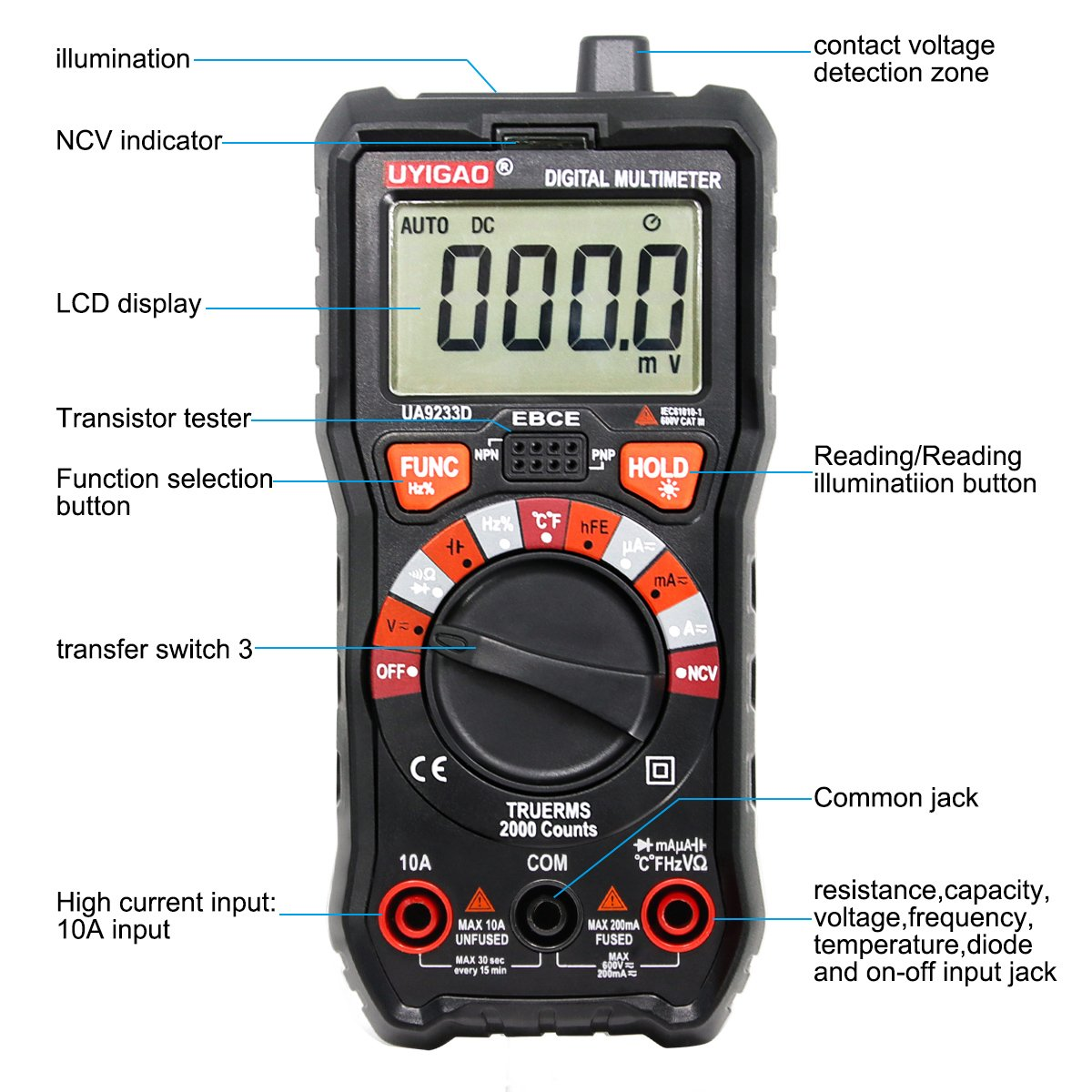 Digital Multimeter UYIGAO Auto-Ranging Digital Multimeters Electronic Measuring Instrument AC Voltage Detector Portable Amp Ohm Volt Test Meter Multi Tester Diode and Continuity Test Scanners Home Use by UYIGAO (Image #2)