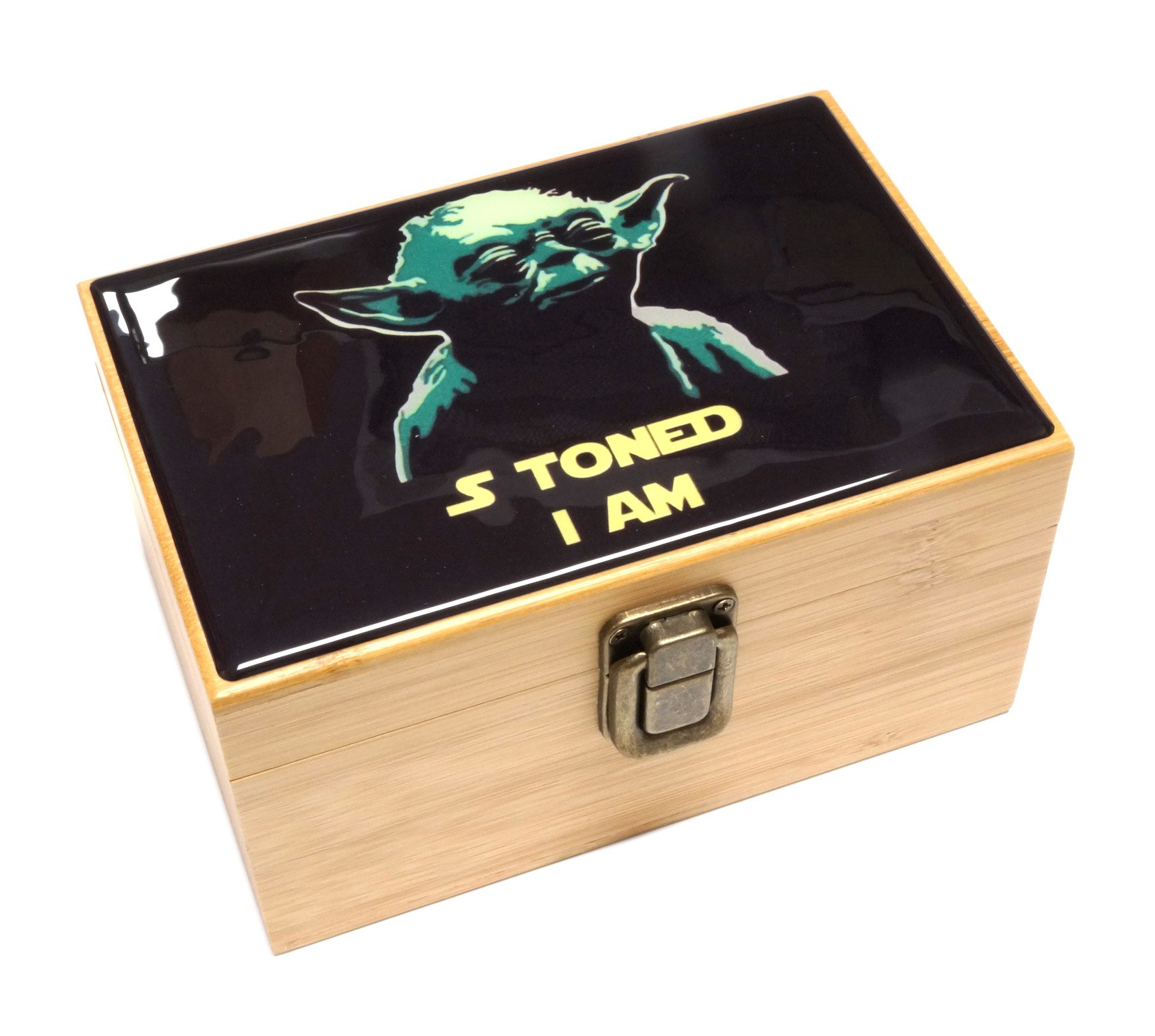 Cali Factory S Toned I Am Design - Grinder, Jar in Medium Size Sacred Geometry Stash Box with Latch Combo Gift Package Item# MED062118-8