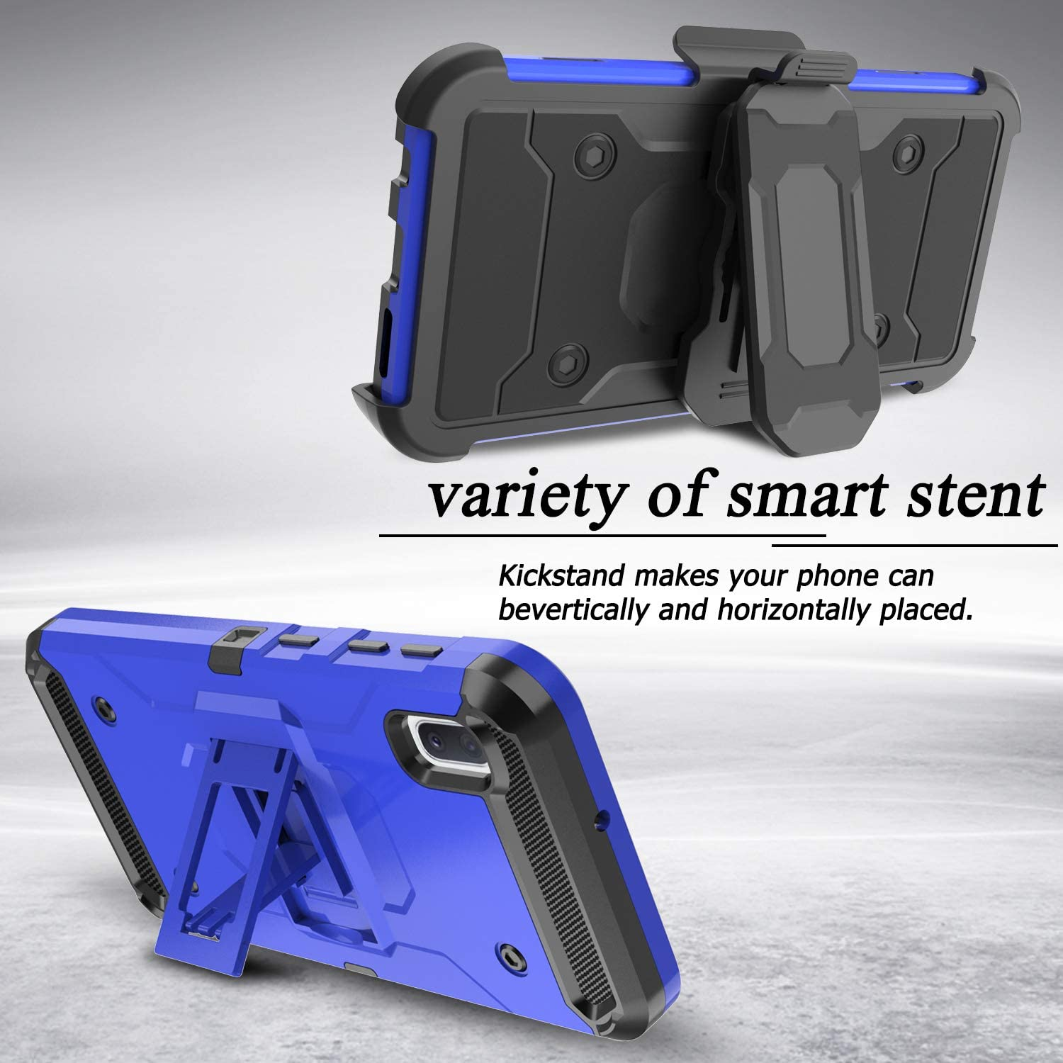 Blue Shockproof Protection Case Cover with Belt Swivel Clip and Kickstand for Samsung Galaxy A10e 5.8inch Venoro Galaxy A10e Case