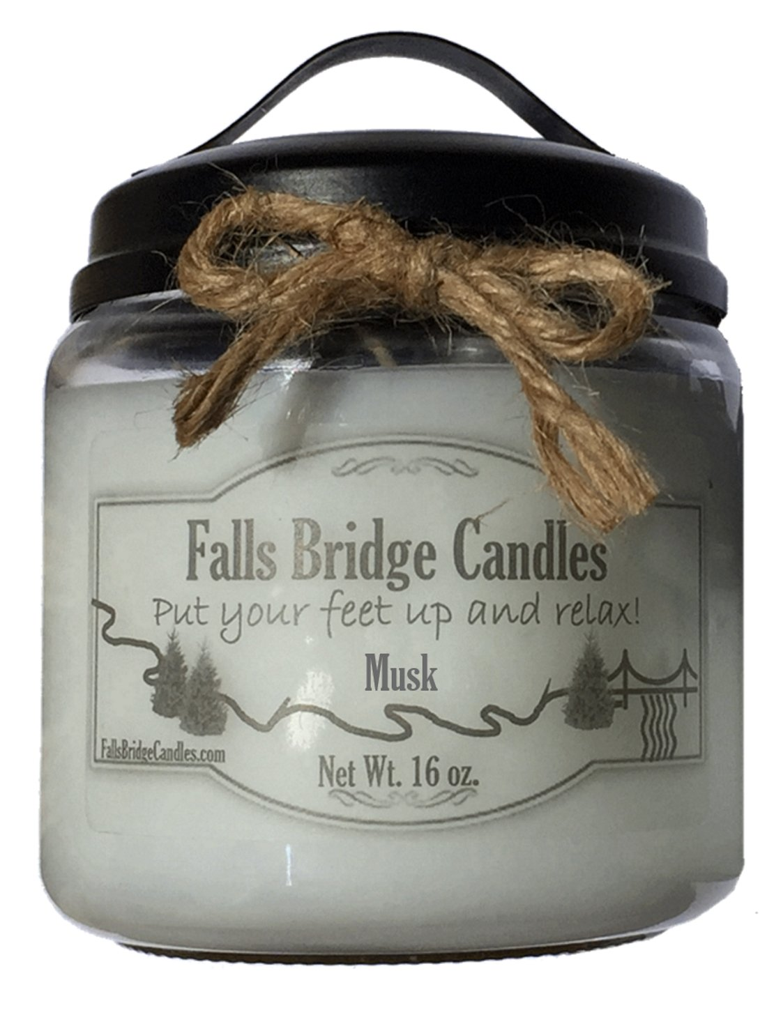 Falls Bridge Candles MUSK16 Musk Paraffin Wax Scented Jar Candle w//Handle Lid 16 oz