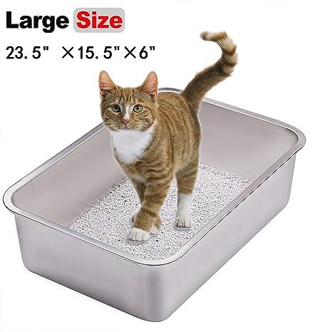 Yangbaga Arenero para Gatos Arenero para Gatos Grandes, Caja de Aseo para Gatos, Acero