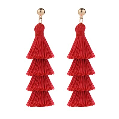 a6ad10c88 BaubleStar Fashion Gold Tassel Dangle Earrings Layered Long Bonita Tiered  Red Thread Tassel Drop Statement Jewelry