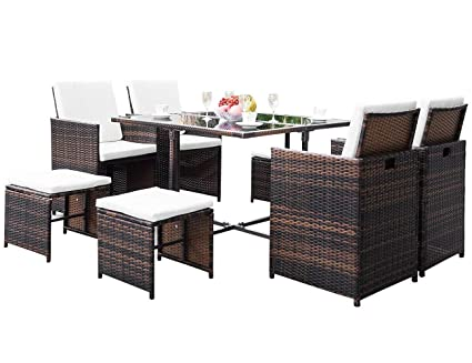Amazon Com Flieks Leisure Zone Outdoor Rattan Wicker Patio Dining