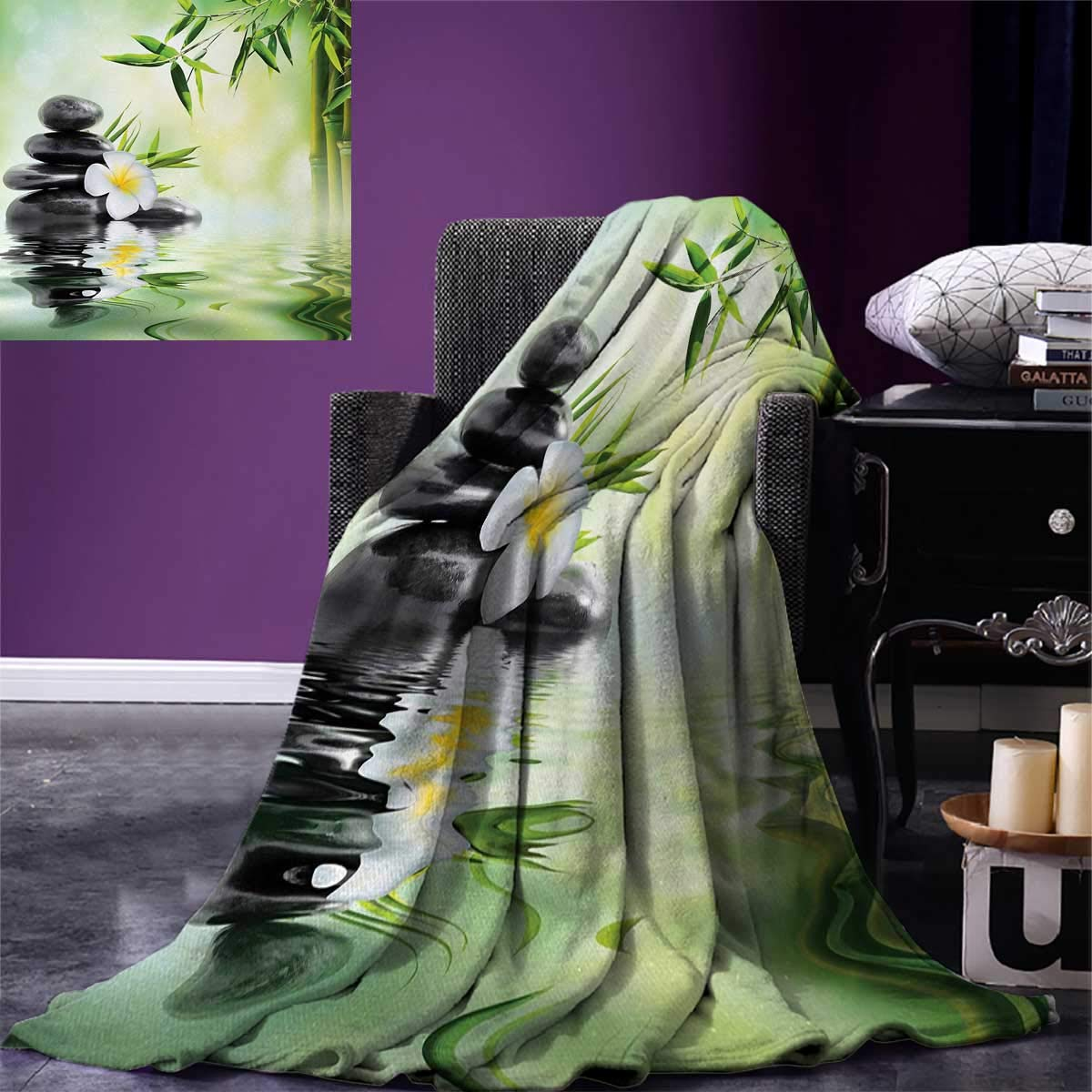 Spa Digital Printing Blanket Garden with Frangipani Bamboo Japanese Relaxation Resting Travel Summer Quilt Comforter 80''x60'' Pale Green Charcoal Grey Yellow