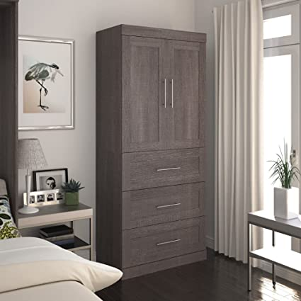 Storage Unit With 3 Drawers And Doors In Bark Gray