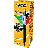 BIC 4 Colours Grip Pro - Bolígrafo con zona de agarre (azul, negro, rojo y verde, 12 unidades)