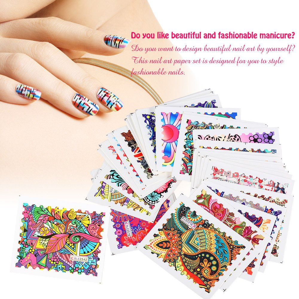Amazon anself 44 sheets nail art paper nail sticker nail art amazon anself 44 sheets nail art paper nail sticker nail art styling set diy nail tip decoration paper beauty solutioingenieria Gallery