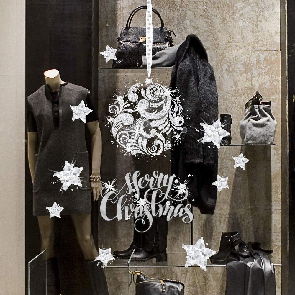 kina UVNT0008 Pendente argentato - Misure 2 fogli 45x35 cm - Vetrofanie natalizie su PVC trasparente - Decorazioni adesive da vetrine per natale