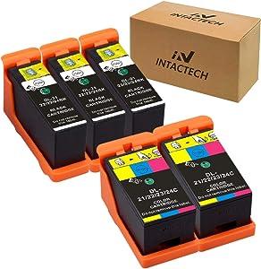 Intactech Compatible Dell V515w, V715w, V313w, Series 21, Series 22, Series 23, Series 24 Ink Cartridges 5 Pack (3 Black 2 Color) Work for Dell V313, V313w, V515w, V715w, P513w, P713w Printer