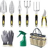 YISSVIC Outils de Jardinage 9Pièces Sac de Rangement Outils de Jardin avec Arrosoir Gants de Jardinage Cadeau pour Les Personnes âgées