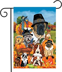 "Briarwood Lane Give Thanks Dogs Thanksgiving Garden Flag Humor Pets 12.5"" x 18"""