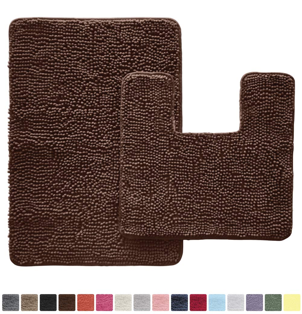 GORILLA GRIP Original Shaggy Chenille 2 Piece Bath Rug Set, Includes Square U-Shape Contour Toilet Mat & 30x20 Carpet Rug, Machine Wash/Dry Mats, Soft, Plush Rugs for Tub Shower & Bath Room, Brown