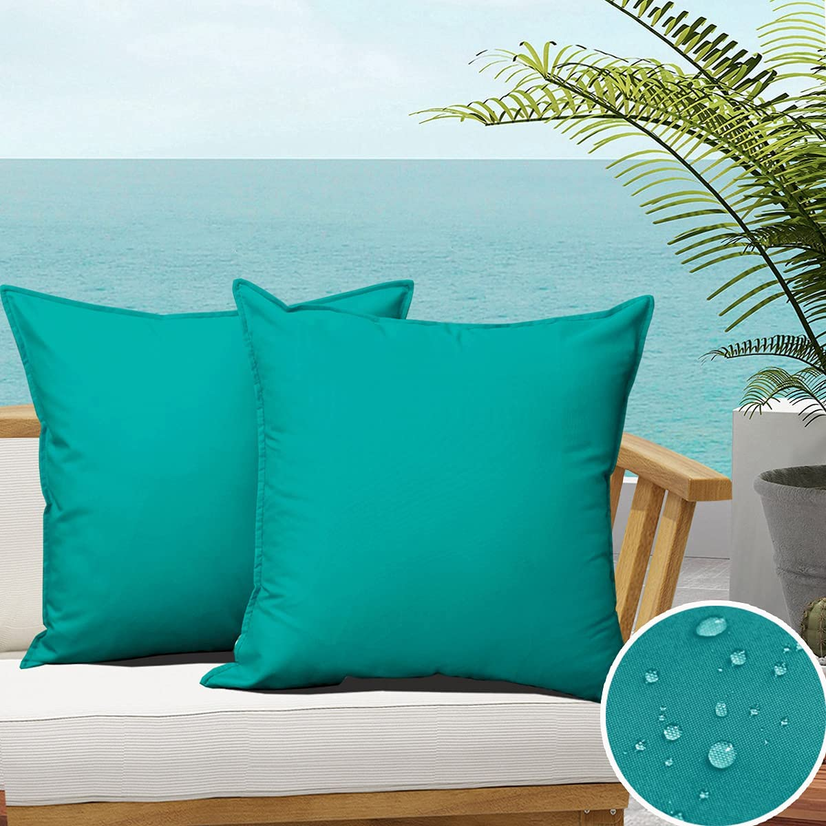 SOFJAGETQ Pack of 2 Outdoor Waterproof Throw Pillow Covers Durable Vibrant Decorative Outdoor Pillows Cushion Case Pillow Shell for Patio Couch, Tent, Sunbrella (18