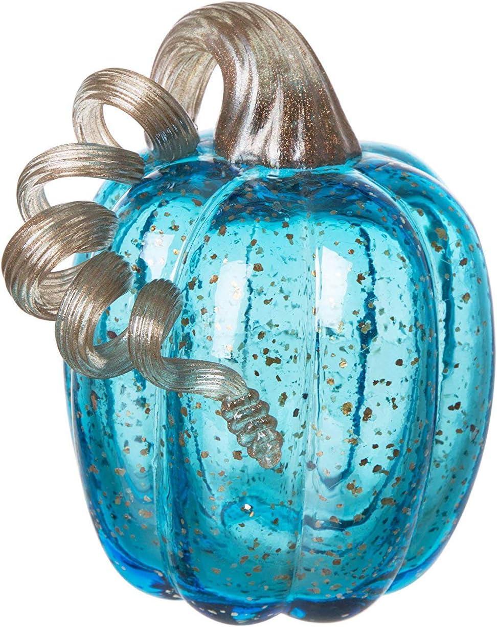 "Glitzhome 6.1"" Blue Handblown Glass Pumpkin Table Accent for Fall & Harvest Thanksgiving Halloween Decoration"
