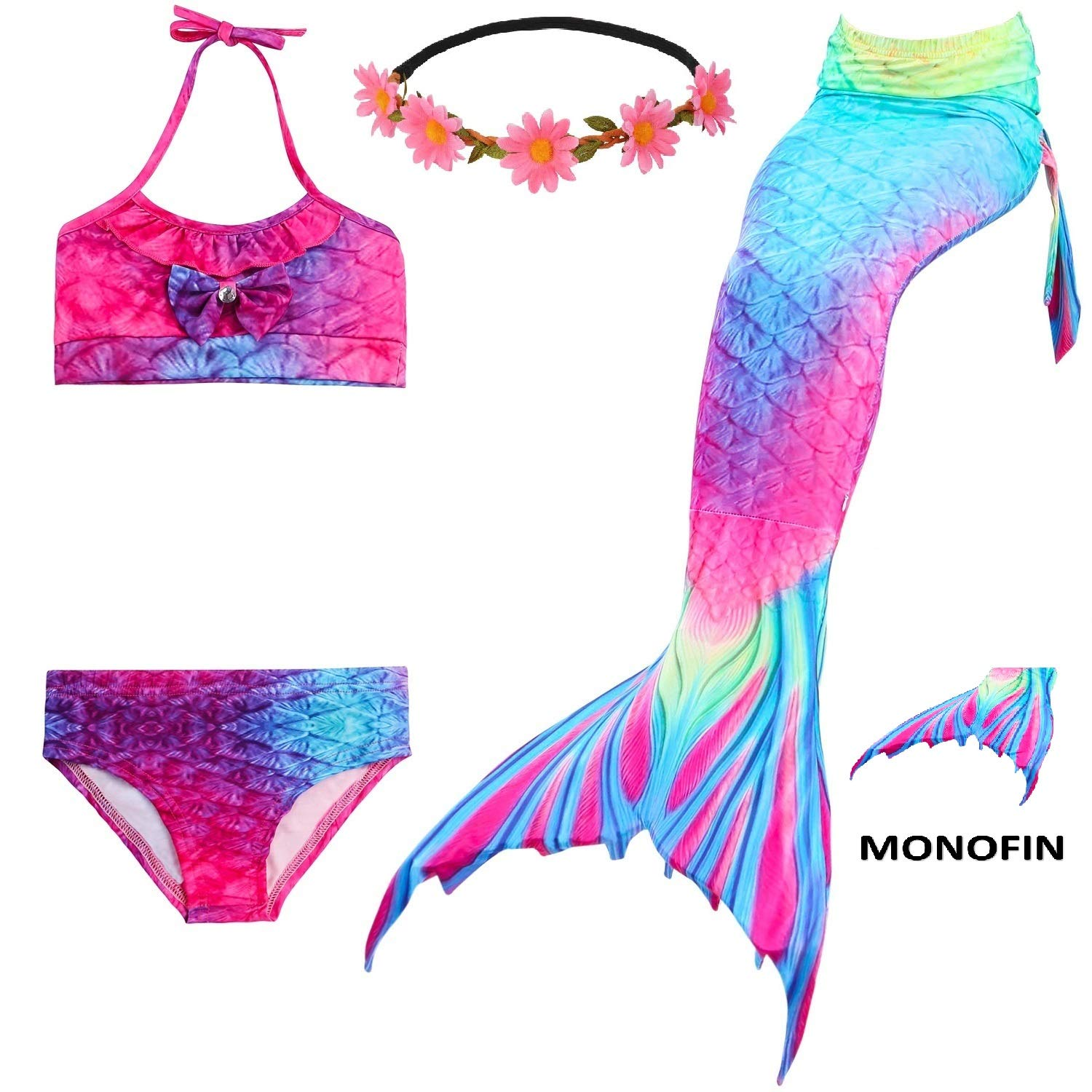 5 Piece Mermaid Tail Swimsuit with Removable Fin Included Monofin and Flower Headband, Wet/Dry Outfit for Kids and Teens (120(5-6Y), A-Aurora)