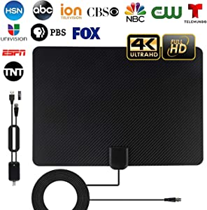 TV Antenna, 2020 Newest Indoor Amplified HD TV Antenna Up to 120-150 Miles Range,Support 4K 1080P HD VHF UHF for Local Channels,Amplifier Signal Booster and 13 Ft Coax Cable