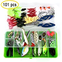KUUQA 101 pcs Fishing Lures Set Crankbaits Hooks Minnow Bass Baits Tackle Diving Floating Lures Soft Plastics Worm Spoons Other Saltwater Freshwater Lures