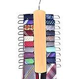 Umo Lorenzo Premium Wooden Necktie and Belt Hanger, Walnut Wood Center Organizer and Storage Rack with a Non-Slip Finish - 20