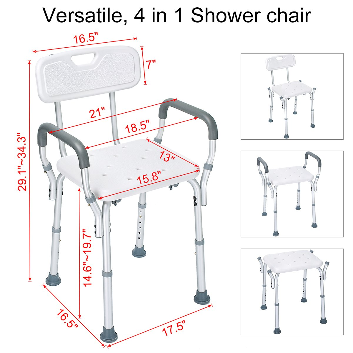 Health Line Tool-Free Assembly Shower Chair Bath Bench Stool Adjustable Height with Removable Back and Arms & Non-Slip Feet - w/Bonus Loofah Back Scrubber by HEALTH LINE MASSAGE PRODUCTS (Image #7)