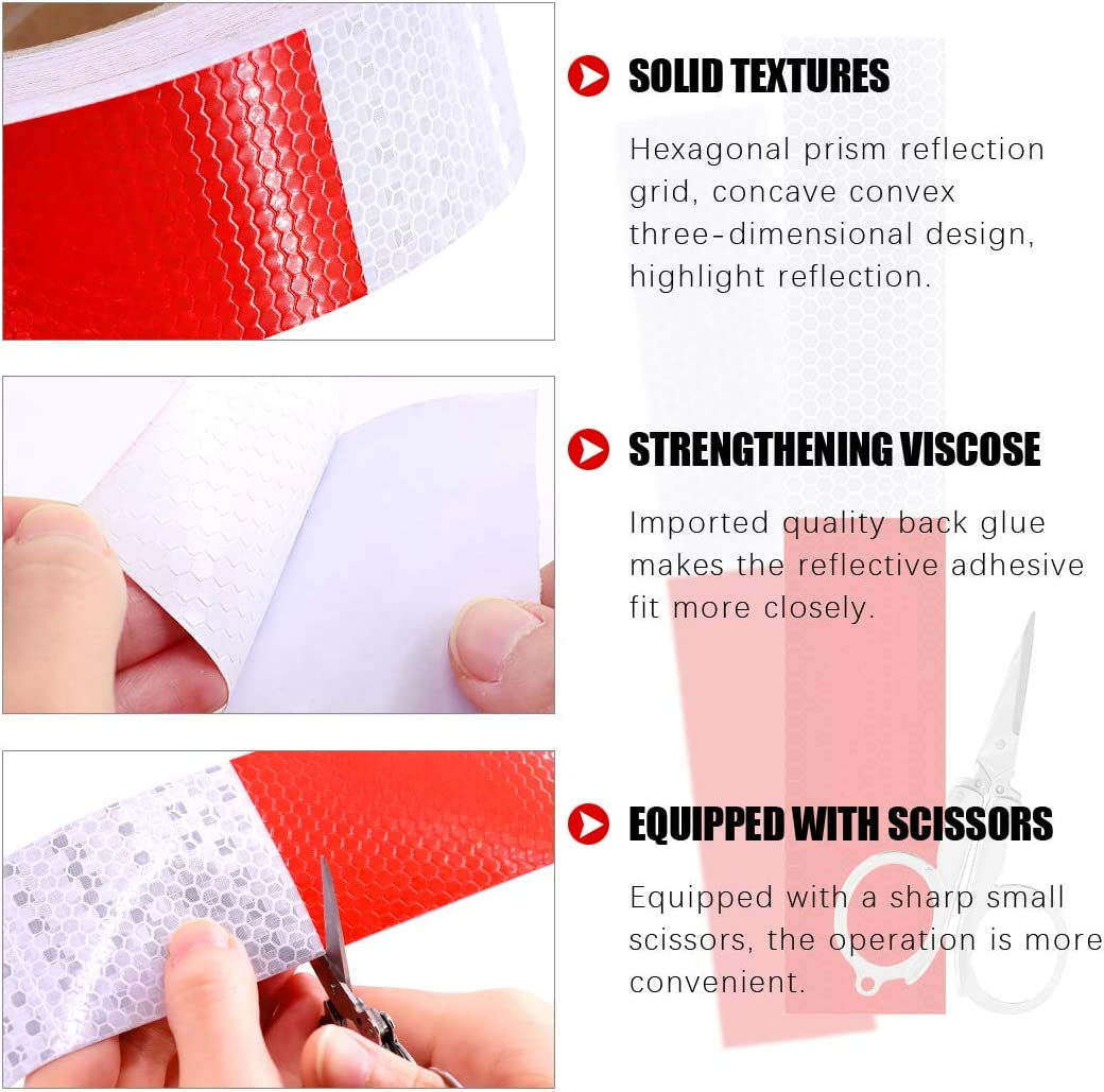 High Intensity Grade Red and White Waterproof Self Adhesive Reflective Safety Tape Reflector Conspicuity Tape for Vehicles Swpeet 2Inch x 151Ft Reflective Tape with Scissor Trailers Boats