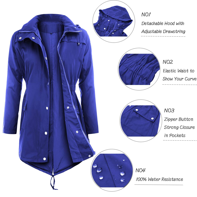 Uniboutique Raincoat Waterproof Outdoor Hooded Lightweight Rain Jacket Windbreaker