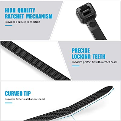 100 Pieces,by Karoka Black Cable Ties Zip Ties 12 inch Heavy Duty Zip Ties with 120 Pounds Tensile Strength