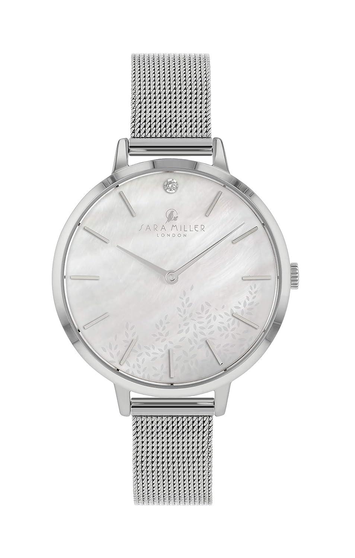 Sara Miller The Diamond Collection SA4019 - Reloj con Correa de Malla bañada en Plata: Amazon.es: Relojes