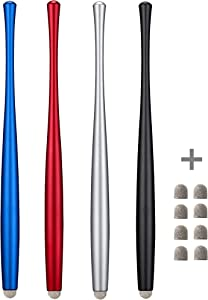 CCIVV Slim Waist Stylus Pens for Touch Screen, Compatible with iPad, iPhone, Kindle Fire + 8 Extra Replaceable Hybrid Fiber Tips (Black,Silver,Blue, Red)