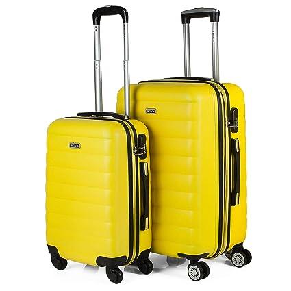 ITACA - Juego de Maletas Rígidas de Viaje 4 Ruedas Trolley 55/65 cm ABS. Extensibles Duras Resistentes Cómodas y Ligeras. Tamaños Pequeña Cabina y ...