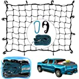 3'x4' Super Duty Cargo Net - Bungee Net Stretches to 8' x 11'| 3.3' Luggage Fixed Strap Rope| 12 Steel Carabiners+12…