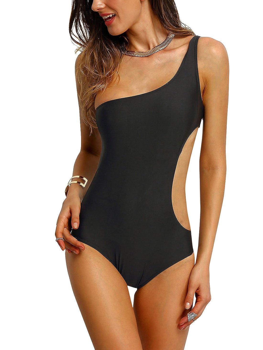 TALLA L. SOLYHUX Mujer Traje de Baño, Monokini Uno Hombro de Una Pieza, Conjunto De Bikini, Ropa de Baño 2019 Negro