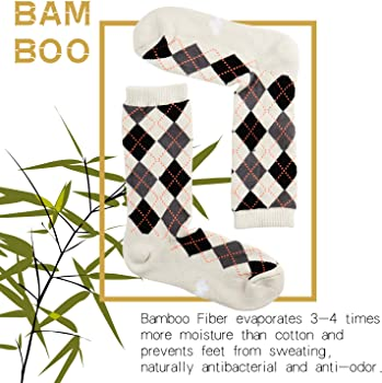 6 Pack Mens Fun Colorful Dress Socks Odor Control Bamboo Crew Socks Novelty Striped Argyle Patterned Casual Socks