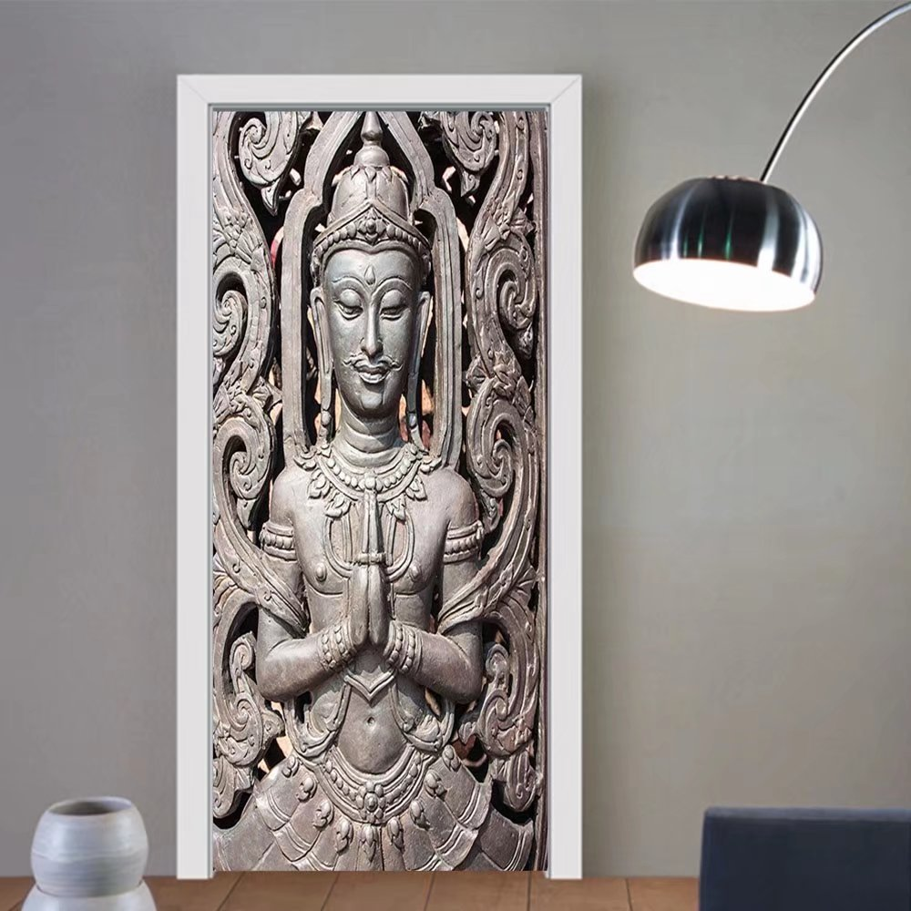 Gzhihine custom made 3d door stickers Buddha Decor Collection Antique Buddha Sitting on Floor Floral Background Asian Oriental Pure Calm Canvas Home Orange Bronze For Room Decor 30x79