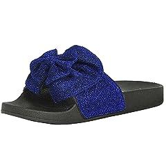 ea36772979a43 Refresh Footwear Women's Glitter Bow Slip on Slide Sandal - Casual ...