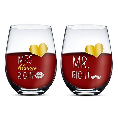 Regali Per Anniversario Di Matrimonio Per Lui.Gifffted Mr E Mrs Always Right Coppia Di Due Bicchieri Da