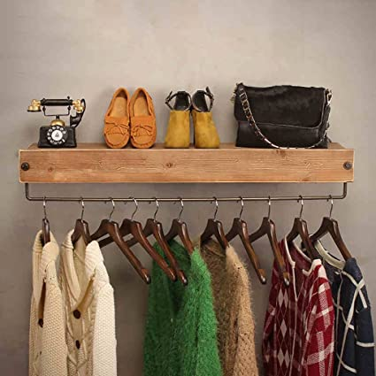 Coat Racks Clothing Store Display Stand Hanger Display Stands Womens Shop Shelf Retro Wall-mounted