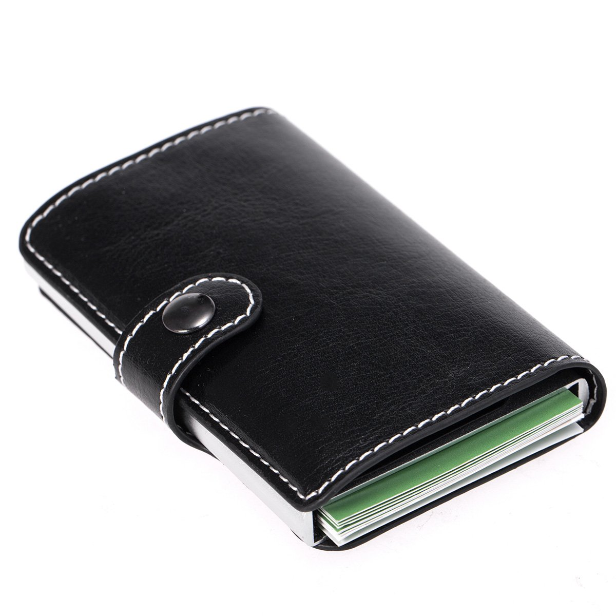 SIBOSUN Wallet Leather Slim RFID Safe Card Holder Case Automatic Pop-Up