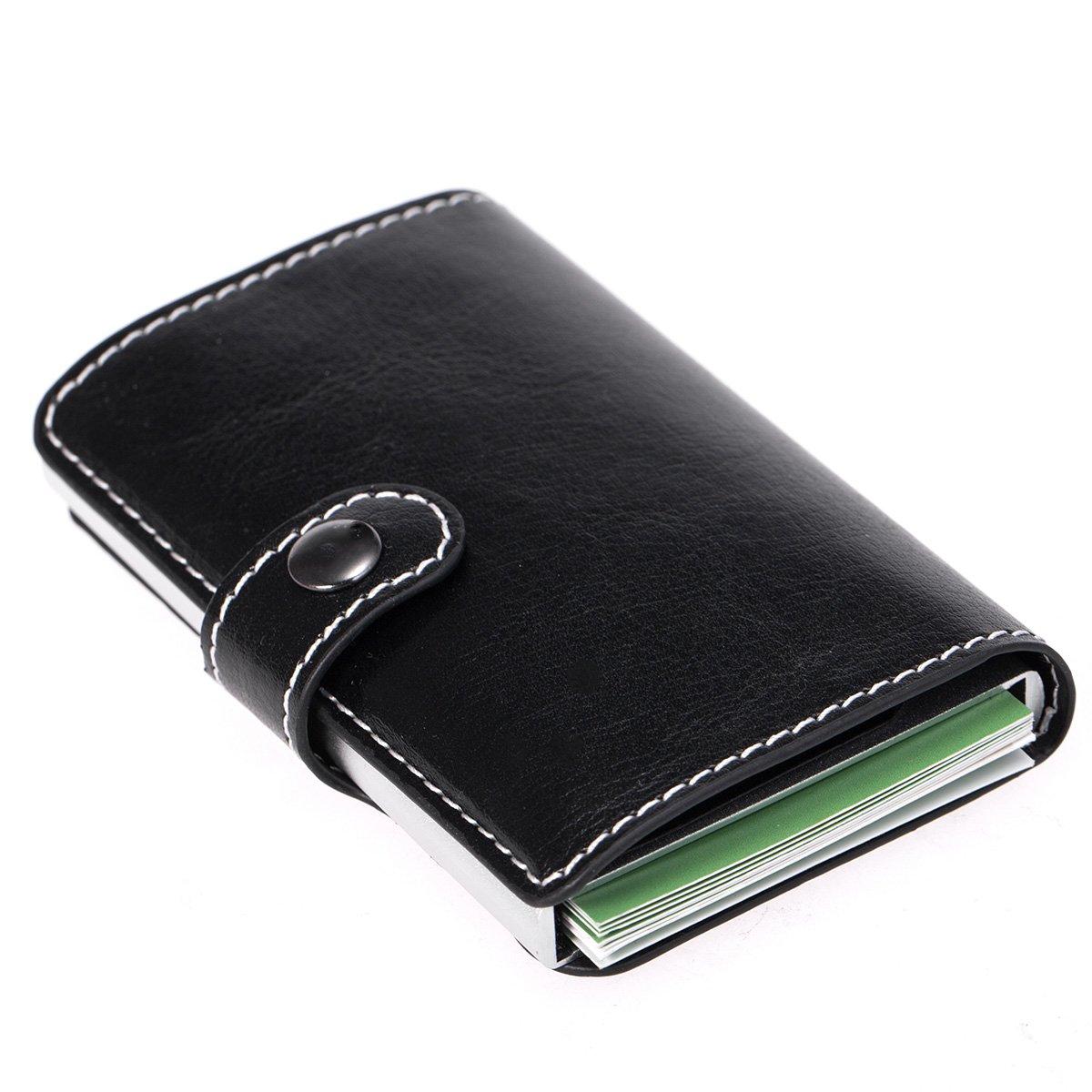 SIBOSUN Wallet Leather Slim RFID Safe Card Holder Case Automatic Pop-Up