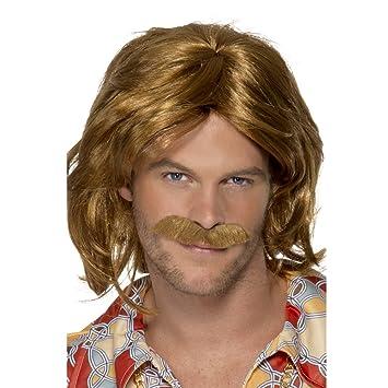 Smiffys Peluca y bigote de Super Trouper de los 70, marrón, largo medio