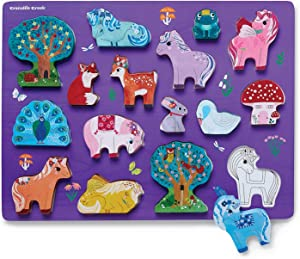 Crocodile Creek - Unicorn Garden 16 Piece Wood Puzzle and Playset, Chunky Wooden Pieces Stand-Up with Play Scene on The Back, for Ages 2+