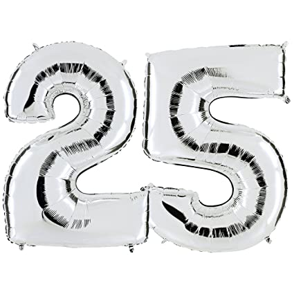 Ballon Chiffre 25 En Argent Xxl Geant Nombre 100 Cm Pour Noces D
